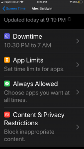 ScreenTime Options in iOS 13